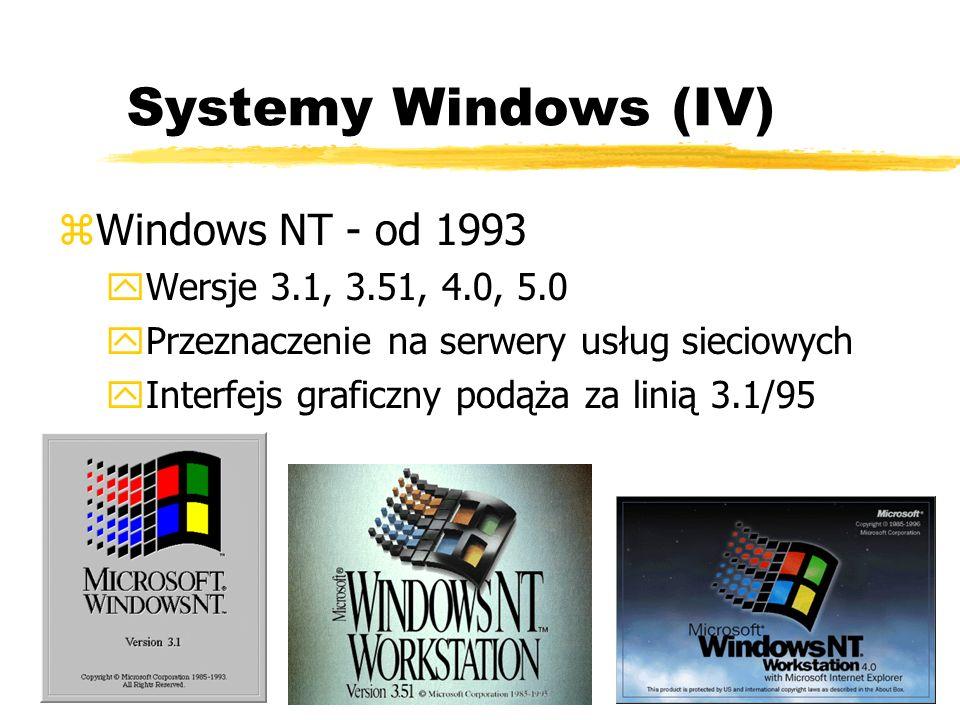 Systemy Windows (IV) zWindows NT - od 1993 yWersje 3.1, 3.51, 4.0, 5.0 yPrzeznaczenie na serwery usług sieciowych yInterfejs graficzny podąża za linią