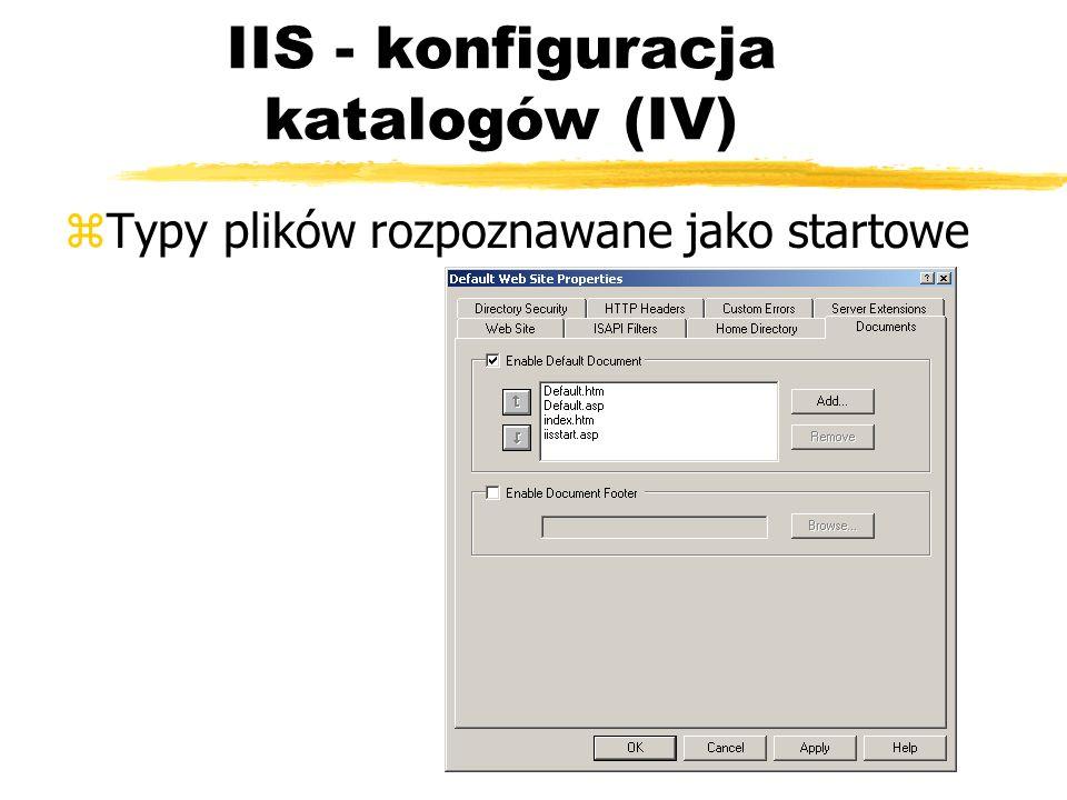 IIS - konfiguracja katalogów (IV) zTypy plików rozpoznawane jako startowe