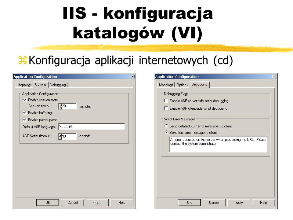 IIS - konfiguracja katalogów (VI) zKonfiguracja aplikacji internetowych (cd)