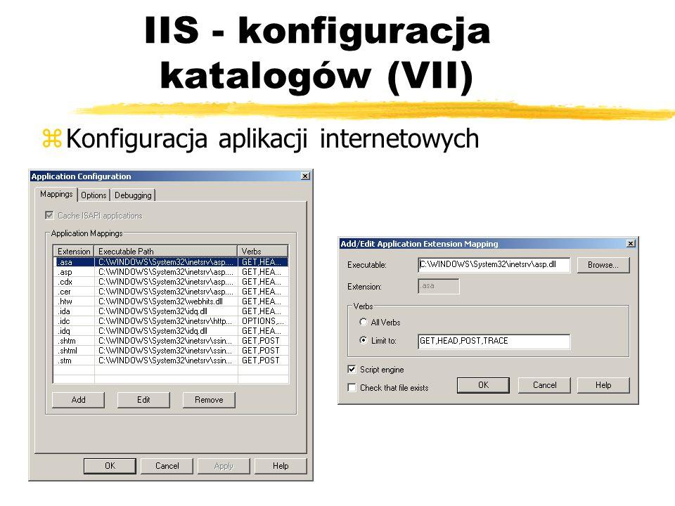IIS - konfiguracja katalogów (VII) zKonfiguracja aplikacji internetowych