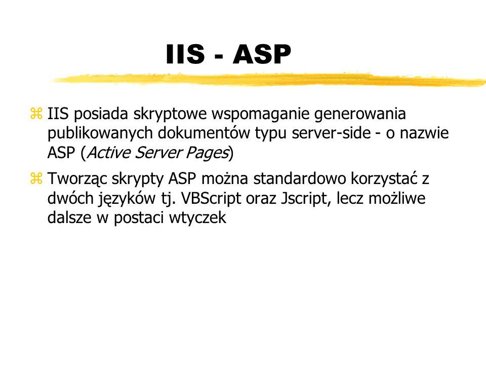 IIS - ASP zIIS posiada skryptowe wspomaganie generowania publikowanych dokumentów typu server-side - o nazwie ASP (Active Server Pages) zTworząc skryp