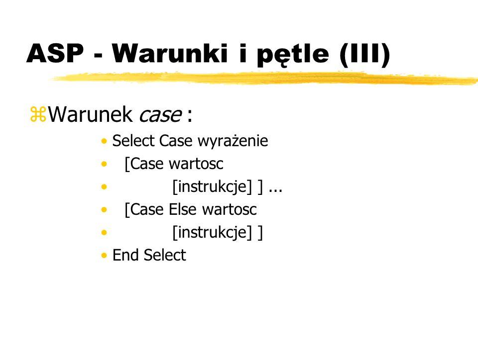 ASP - Warunki i pętle (III) zWarunek case : Select Case wyrażenie [Case wartosc [instrukcje] ]... [Case Else wartosc [instrukcje] ] End Select