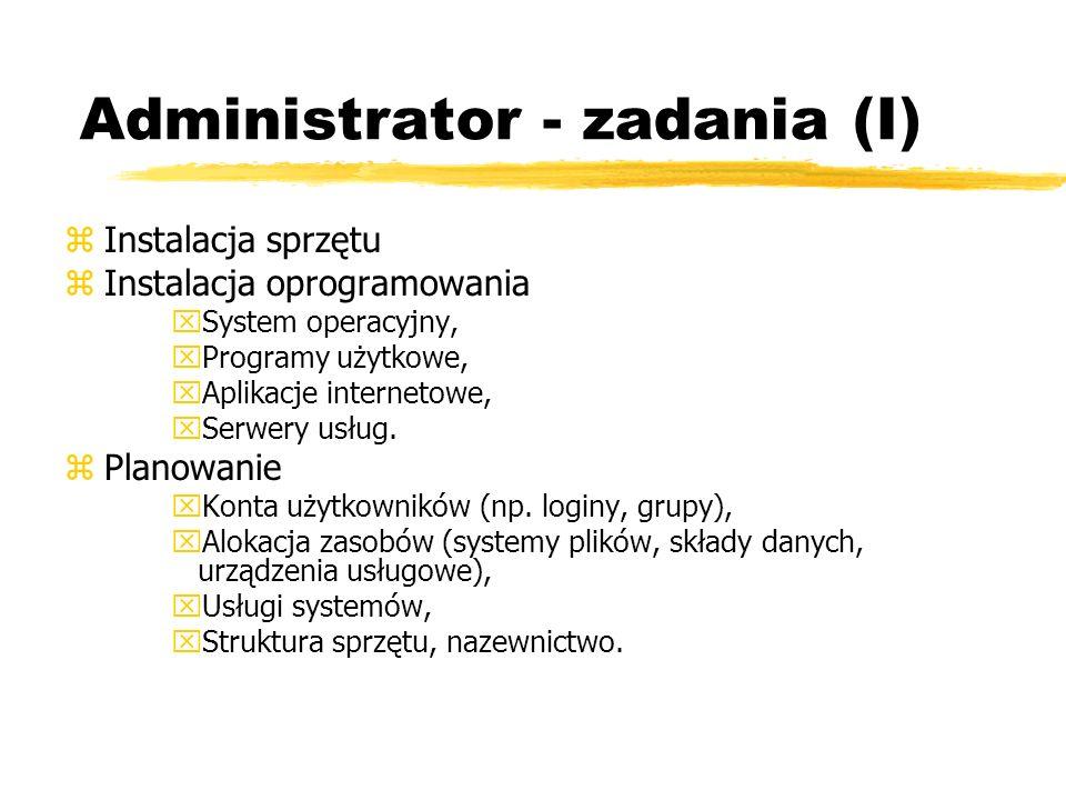 Administrator - zadania (I) zInstalacja sprzętu zInstalacja oprogramowania xSystem operacyjny, xProgramy użytkowe, xAplikacje internetowe, xSerwery us