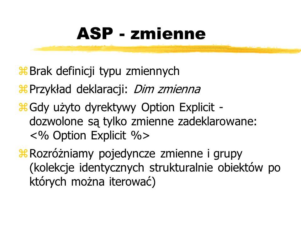 ASP - zmienne zBrak definicji typu zmiennych zPrzykład deklaracji: Dim zmienna zGdy użyto dyrektywy Option Explicit - dozwolone są tylko zmienne zadek