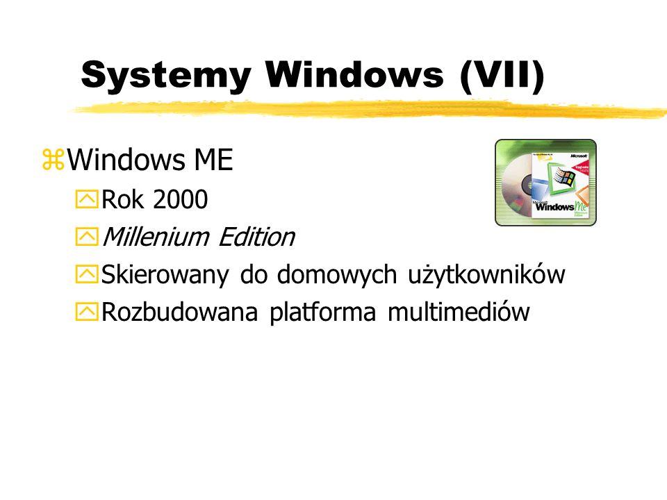 Systemy Windows (VII) zWindows ME yRok 2000 yMillenium Edition ySkierowany do domowych użytkowników yRozbudowana platforma multimediów