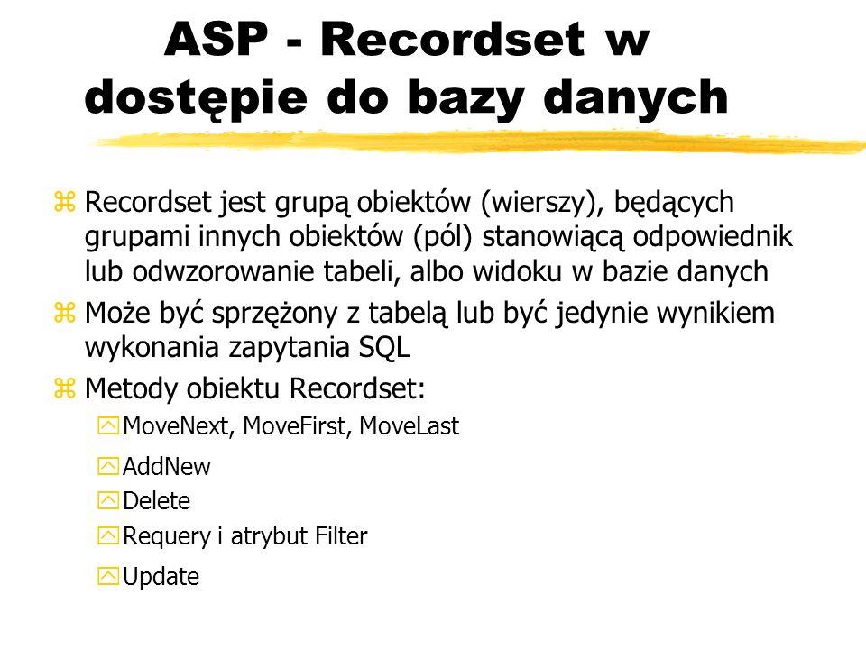 ASP - Recordset w dostępie do bazy danych zRecordset jest grupą obiektów (wierszy), będących grupami innych obiektów (pól) stanowiącą odpowiednik lub