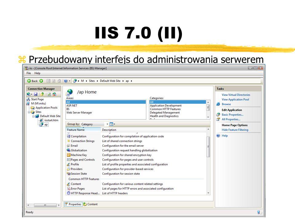 IIS 7.0 (II) zPrzebudowany interfejs do administrowania serwerem