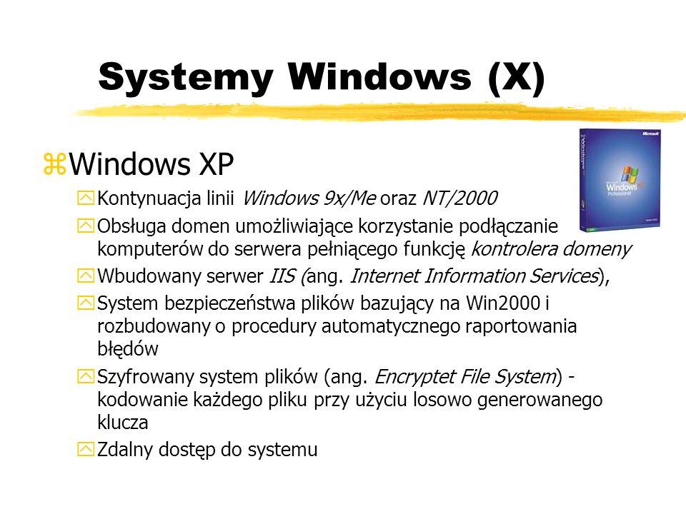 Systemy Windows (X) zWindows XP yKontynuacja linii Windows 9x/Me oraz NT/2000 yObsługa domen umożliwiające korzystanie podłączanie komputerów do serwe