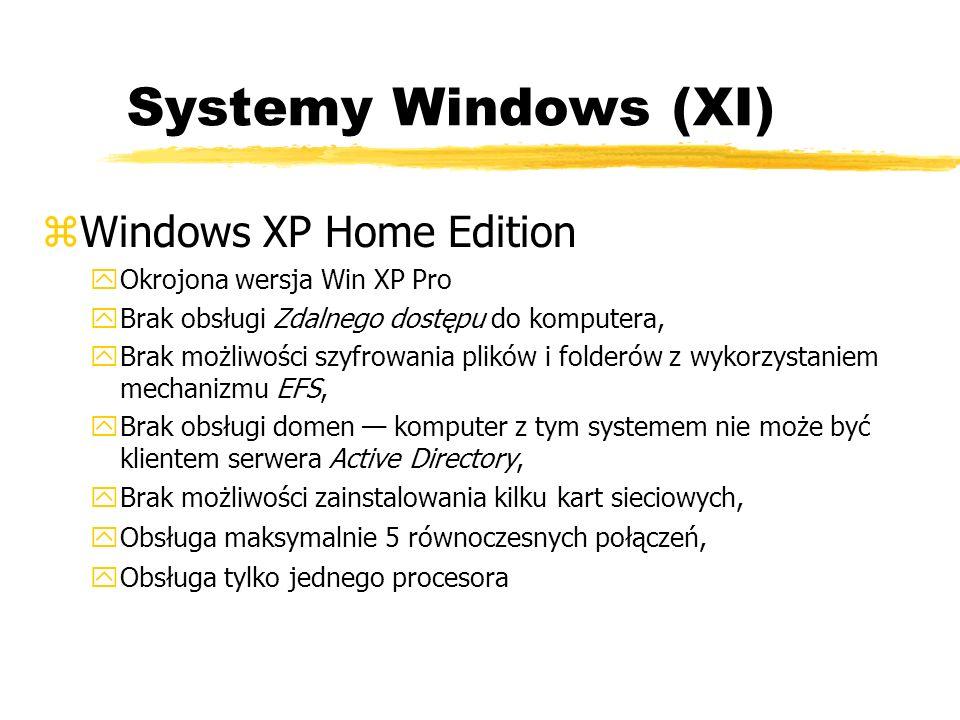 Systemy Windows (XI) zWindows XP Home Edition yOkrojona wersja Win XP Pro yBrak obsługi Zdalnego dostępu do komputera, yBrak możliwości szyfrowania pl
