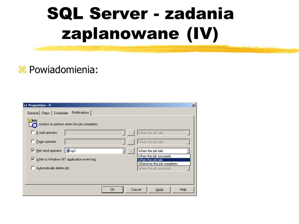 SQL Server - zadania zaplanowane (IV) zPowiadomienia: