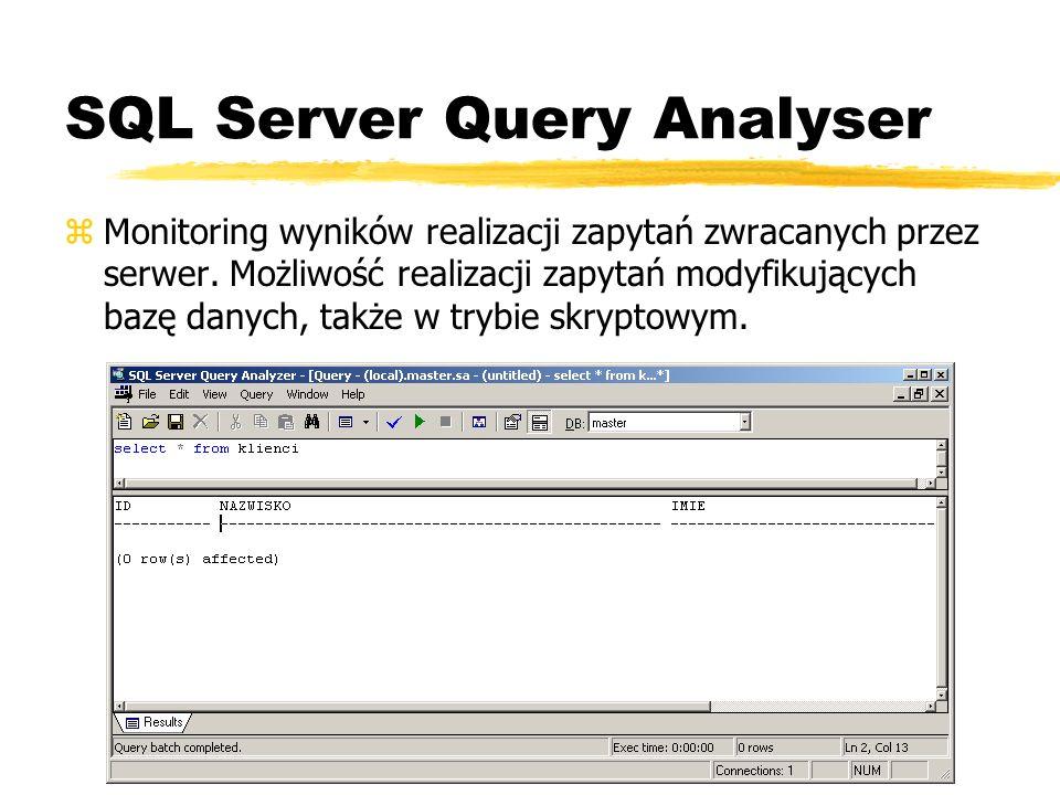 SQL Server Query Analyser zMonitoring wyników realizacji zapytań zwracanych przez serwer. Możliwość realizacji zapytań modyfikujących bazę danych, tak