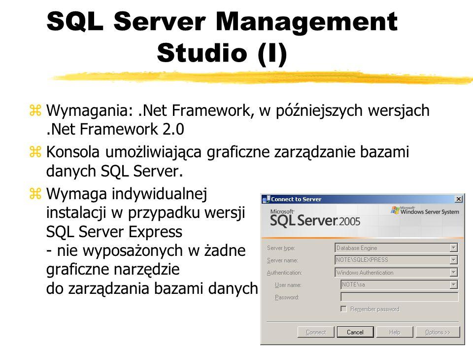 SQL Server Management Studio (I) zWymagania:.Net Framework, w późniejszych wersjach.Net Framework 2.0 zKonsola umożliwiająca graficzne zarządzanie baz