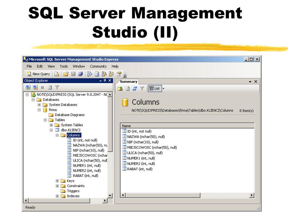 SQL Server Management Studio (II)