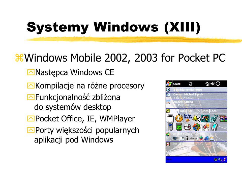 Systemy Windows (XIII) zWindows Mobile 2002, 2003 for Pocket PC yNastępca Windows CE yKompilacje na różne procesory yFunkcjonalność zbliżona do system