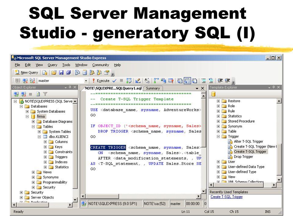 SQL Server Management Studio - generatory SQL (I)
