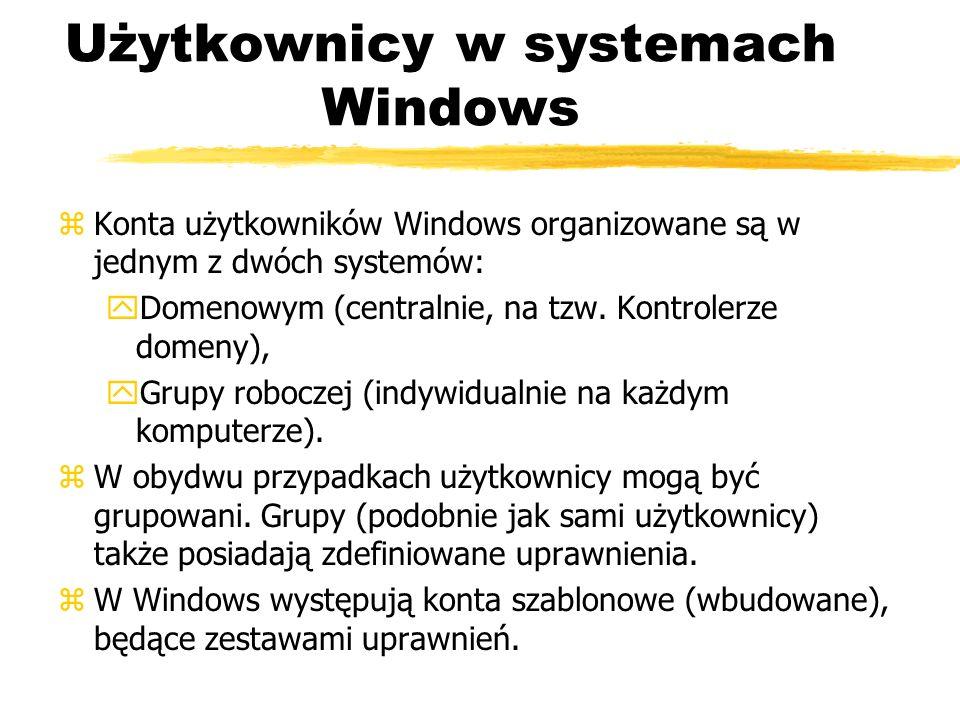Użytkownicy w systemach Windows zKonta użytkowników Windows organizowane są w jednym z dwóch systemów: yDomenowym (centralnie, na tzw. Kontrolerze dom