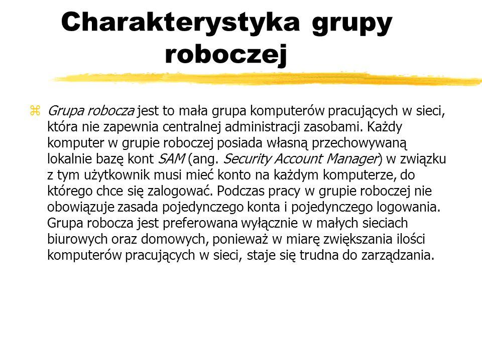 Charakterystyka grupy roboczej zGrupa robocza jest to mała grupa komputerów pracujących w sieci, która nie zapewnia centralnej administracji zasobami.