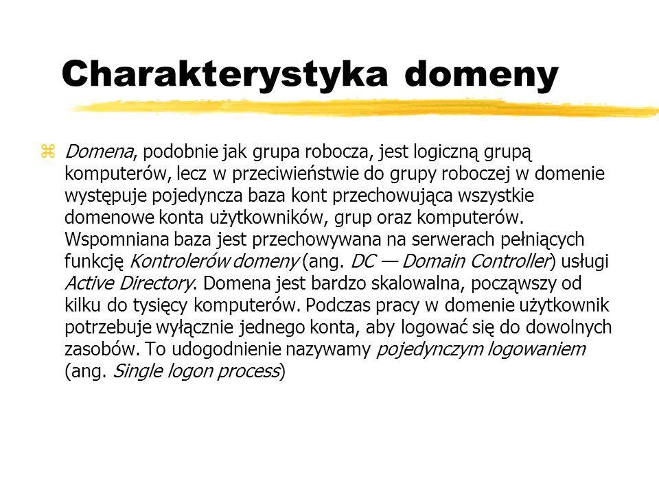 Charakterystyka domeny zDomena, podobnie jak grupa robocza, jest logiczną grupą komputerów, lecz w przeciwieństwie do grupy roboczej w domenie występu