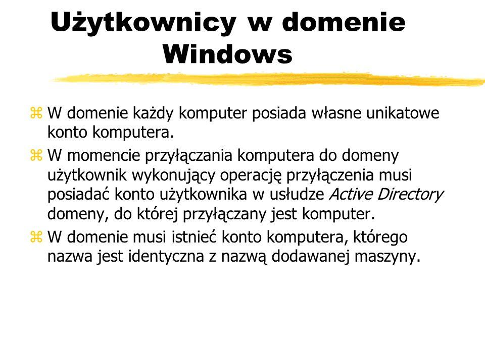 Użytkownicy w domenie Windows zW domenie każdy komputer posiada własne unikatowe konto komputera. zW momencie przyłączania komputera do domeny użytkow