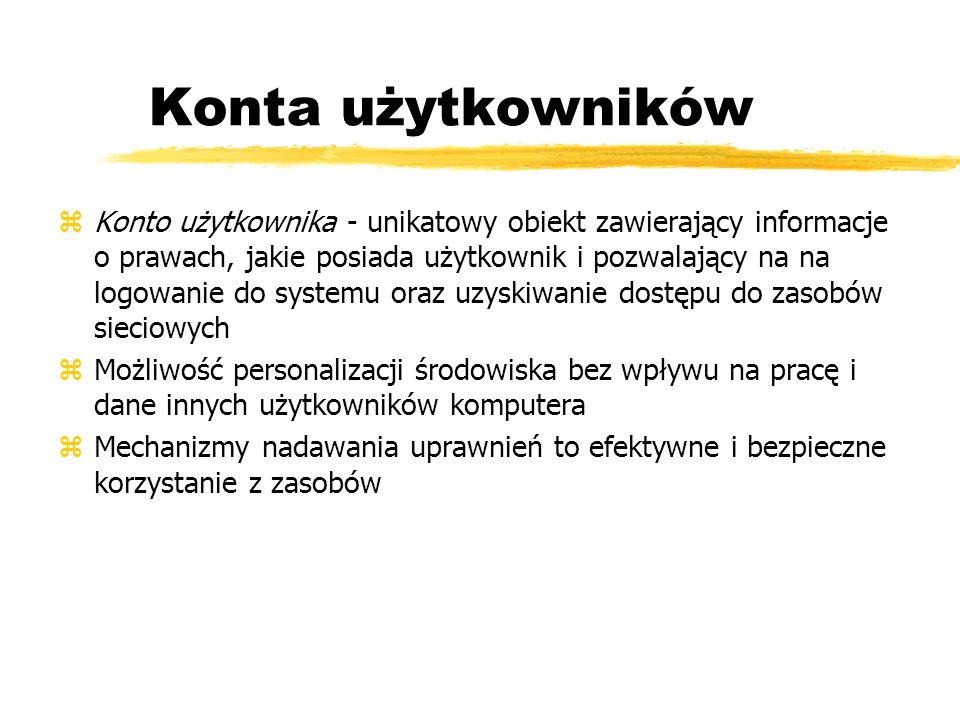 Konta użytkowników zKonto użytkownika - unikatowy obiekt zawierający informacje o prawach, jakie posiada użytkownik i pozwalający na na logowanie do s