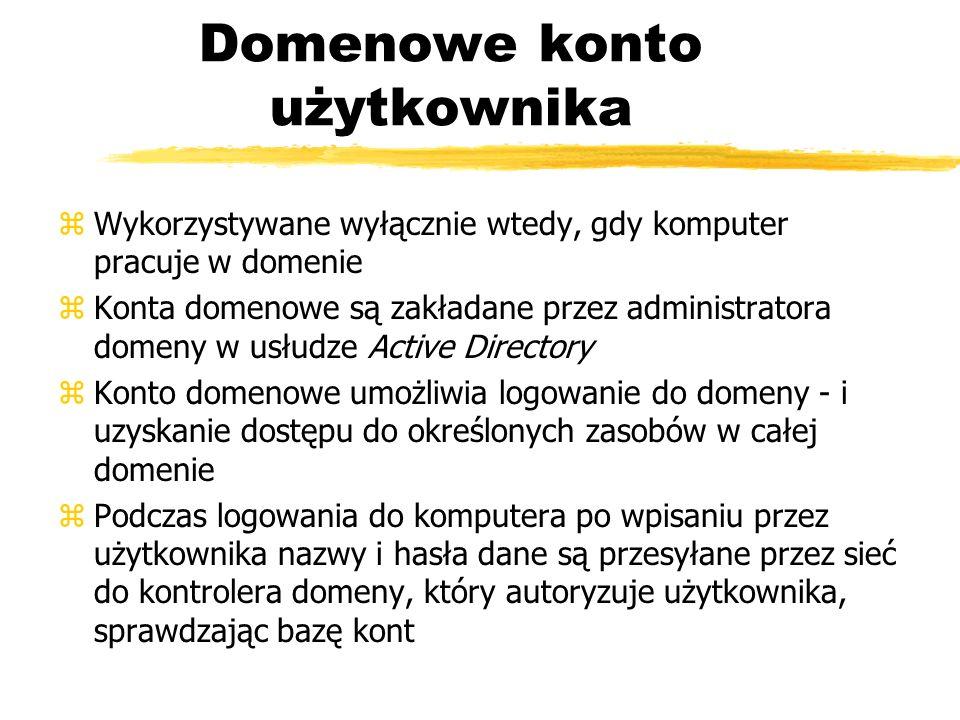 Domenowe konto użytkownika zWykorzystywane wyłącznie wtedy, gdy komputer pracuje w domenie zKonta domenowe są zakładane przez administratora domeny w