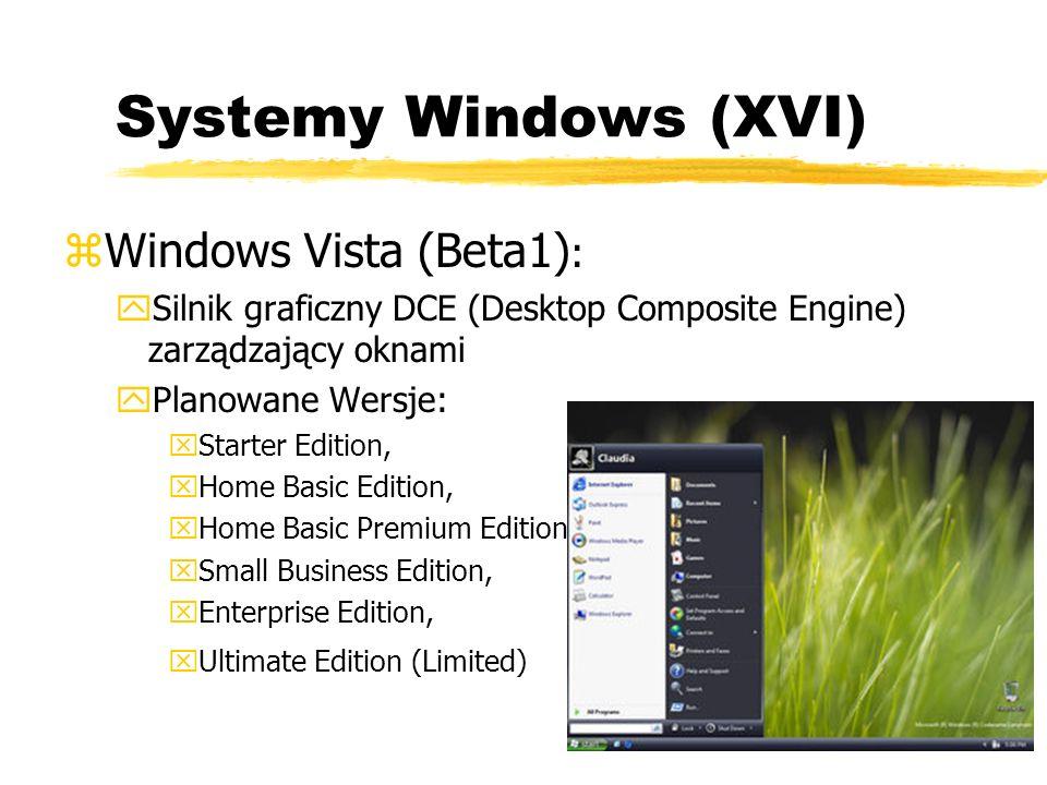 Systemy Windows (XVI) zWindows Vista (Beta1) : ySilnik graficzny DCE (Desktop Composite Engine) zarządzający oknami yPlanowane Wersje: xStarter Editio