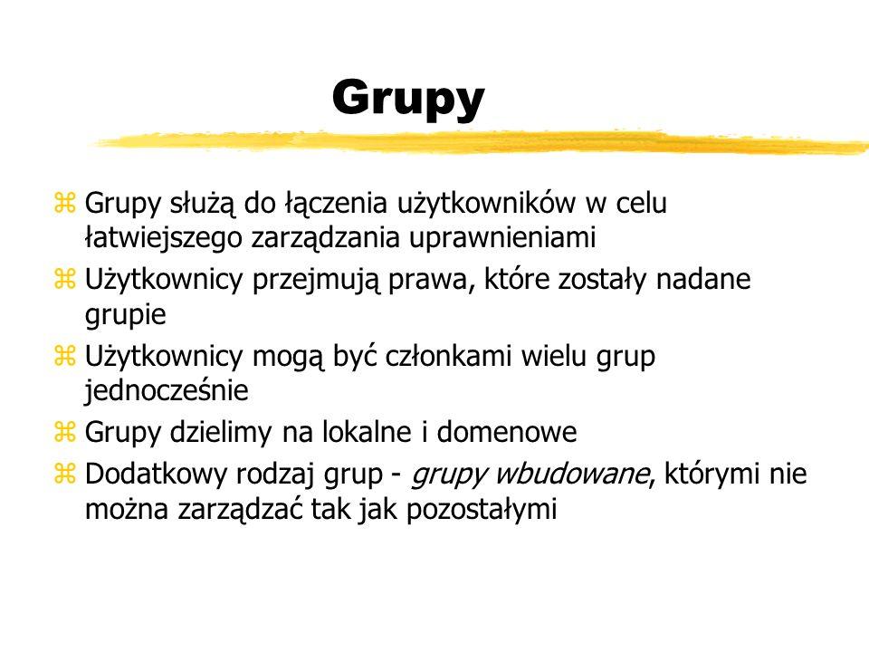 Grupy zGrupy służą do łączenia użytkowników w celu łatwiejszego zarządzania uprawnieniami zUżytkownicy przejmują prawa, które zostały nadane grupie zU