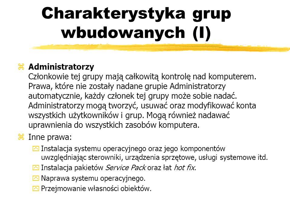 Charakterystyka grup wbudowanych (I) zAdministratorzy Członkowie tej grupy mają całkowitą kontrolę nad komputerem. Prawa, które nie zostały nadane gru
