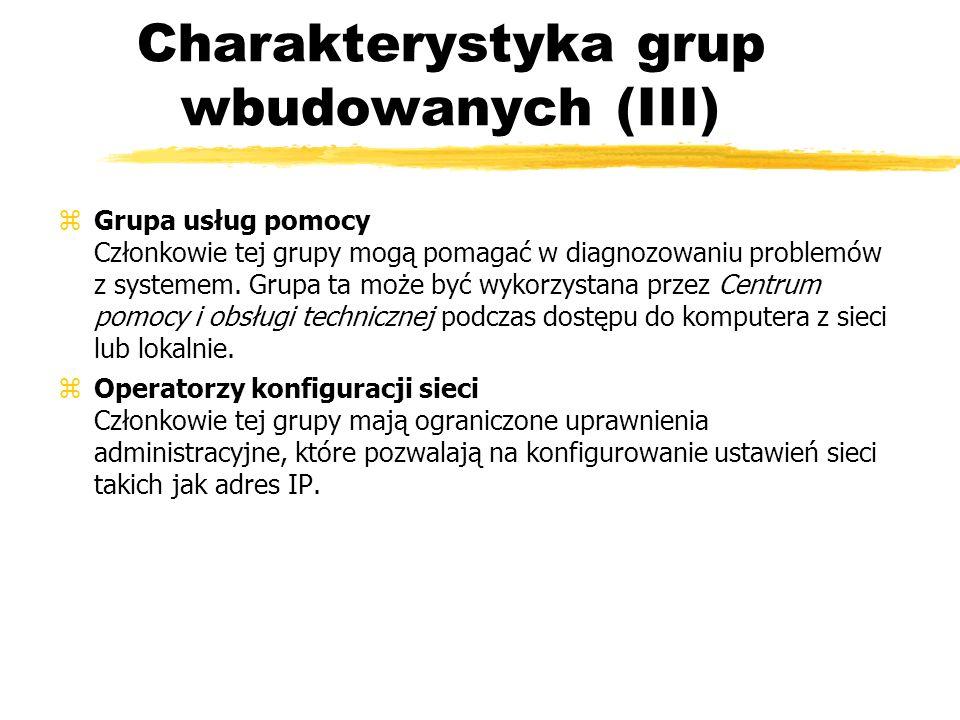 Charakterystyka grup wbudowanych (III) zGrupa usług pomocy Członkowie tej grupy mogą pomagać w diagnozowaniu problemów z systemem. Grupa ta może być w