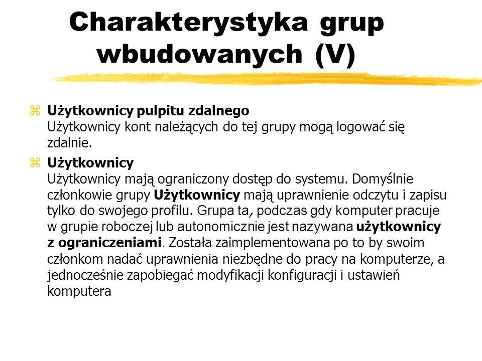 Charakterystyka grup wbudowanych (V) zUżytkownicy pulpitu zdalnego Użytkownicy kont należących do tej grupy mogą logować się zdalnie. Użytkownicy Użyt