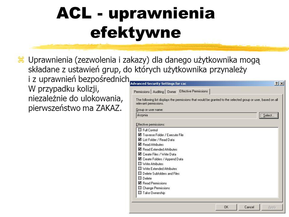 ACL - uprawnienia efektywne zUprawnienia (zezwolenia i zakazy) dla danego użytkownika mogą składane z ustawień grup, do których użytkownika przynależy