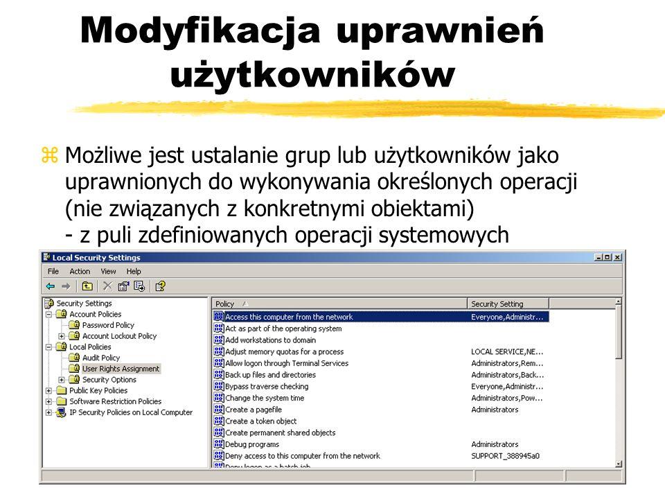 Modyfikacja uprawnień użytkowników zMożliwe jest ustalanie grup lub użytkowników jako uprawnionych do wykonywania określonych operacji (nie związanych