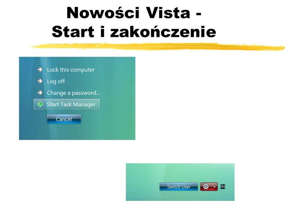 Nowości Vista - Start i zakończenie