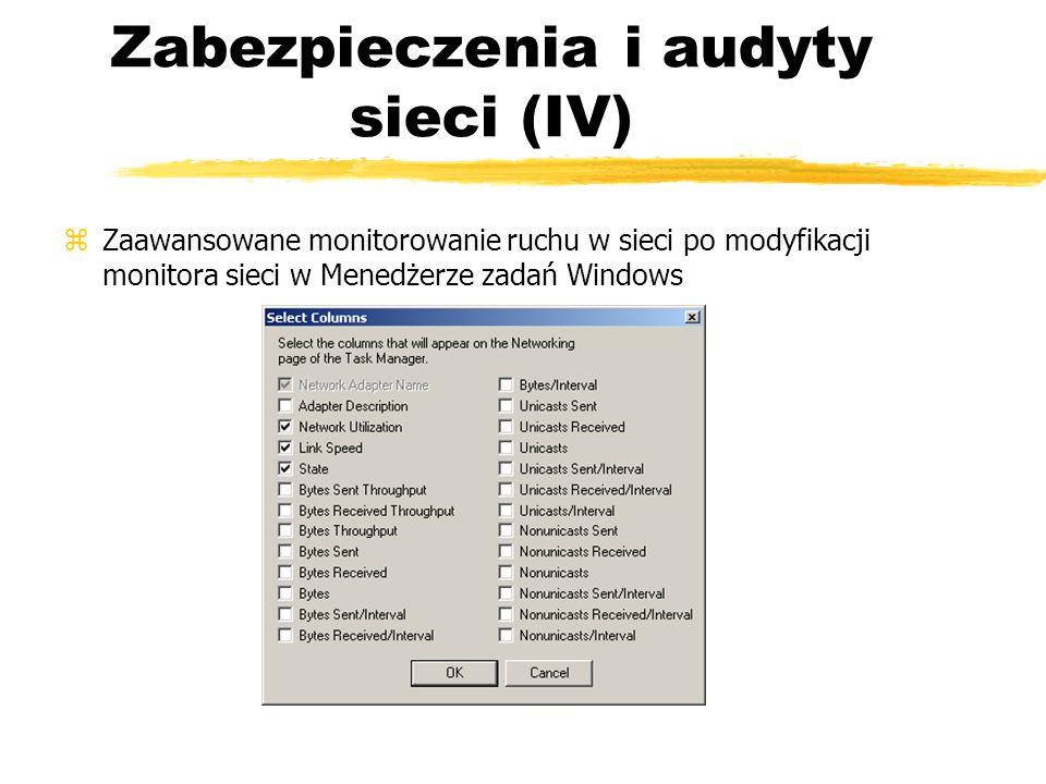 Zabezpieczenia i audyty sieci (IV) zZaawansowane monitorowanie ruchu w sieci po modyfikacji monitora sieci w Menedżerze zadań Windows