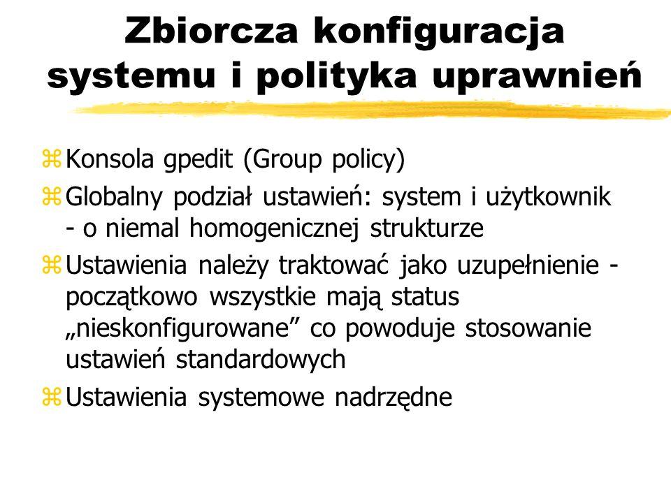 Zbiorcza konfiguracja systemu i polityka uprawnień zKonsola gpedit (Group policy) zGlobalny podział ustawień: system i użytkownik - o niemal homogenic