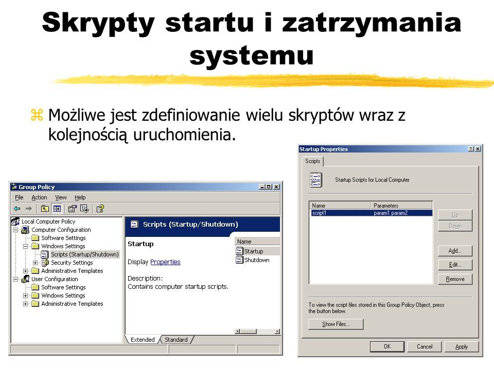 Skrypty startu i zatrzymania systemu zMożliwe jest zdefiniowanie wielu skryptów wraz z kolejnością uruchomienia.