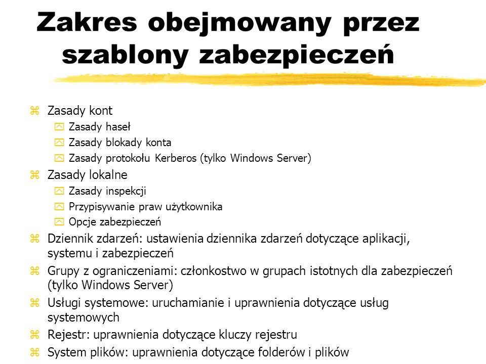 Zakres obejmowany przez szablony zabezpieczeń zZasady kont yZasady haseł yZasady blokady konta yZasady protokołu Kerberos (tylko Windows Server) zZasa