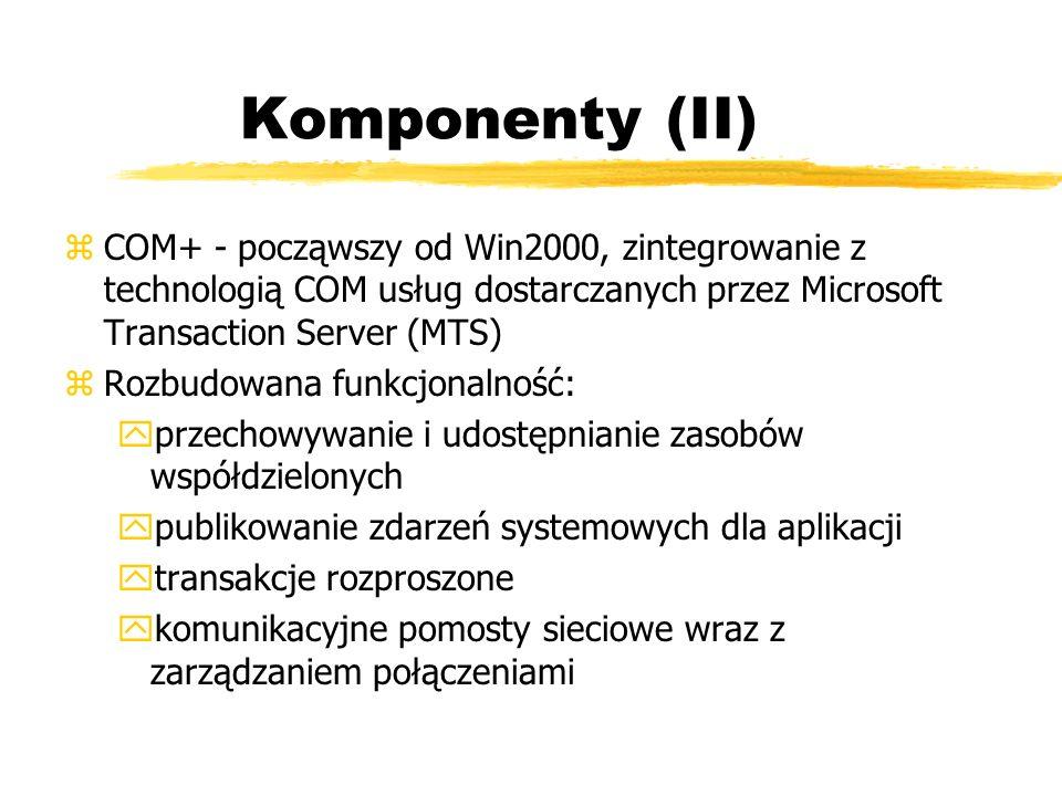 Komponenty (II) zCOM+ - począwszy od Win2000, zintegrowanie z technologią COM usług dostarczanych przez Microsoft Transaction Server (MTS) zRozbudowan