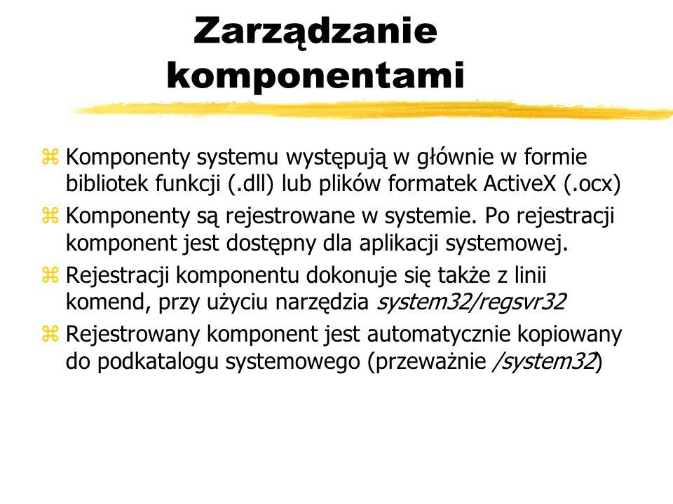 Zarządzanie komponentami zKomponenty systemu występują w głównie w formie bibliotek funkcji (.dll) lub plików formatek ActiveX (.ocx) zKomponenty są r
