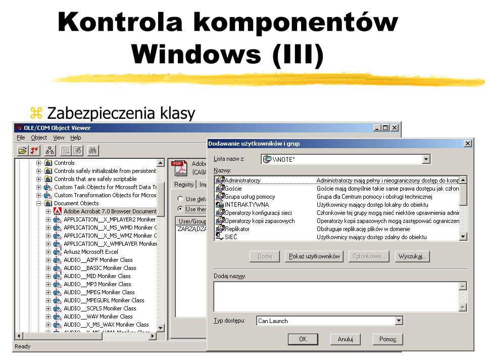 Kontrola komponentów Windows (III) zZabezpieczenia klasy