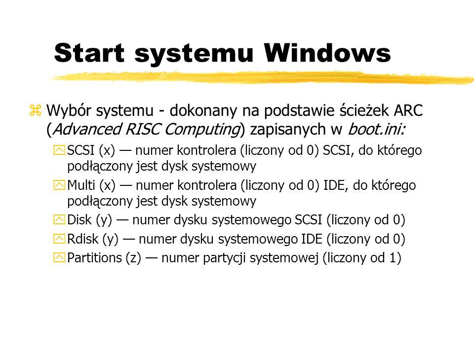 Start systemu Windows zWybór systemu - dokonany na podstawie ścieżek ARC (Advanced RISC Computing) zapisanych w boot.ini: ySCSI (x) numer kontrolera (