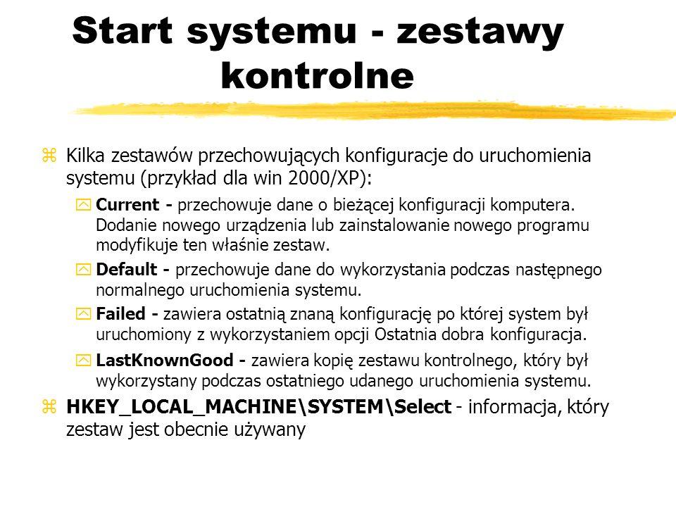 Start systemu - zestawy kontrolne zKilka zestawów przechowujących konfiguracje do uruchomienia systemu (przykład dla win 2000/XP): yCurrent - przechow