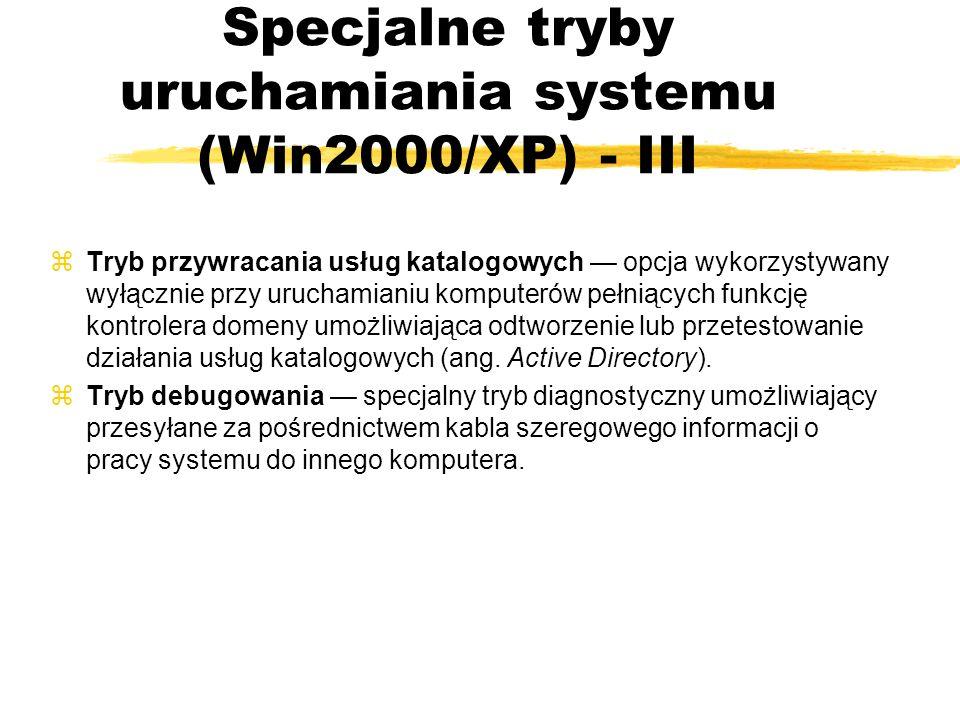 zTryb przywracania usług katalogowych opcja wykorzystywany wyłącznie przy uruchamianiu komputerów pełniących funkcję kontrolera domeny umożliwiająca o