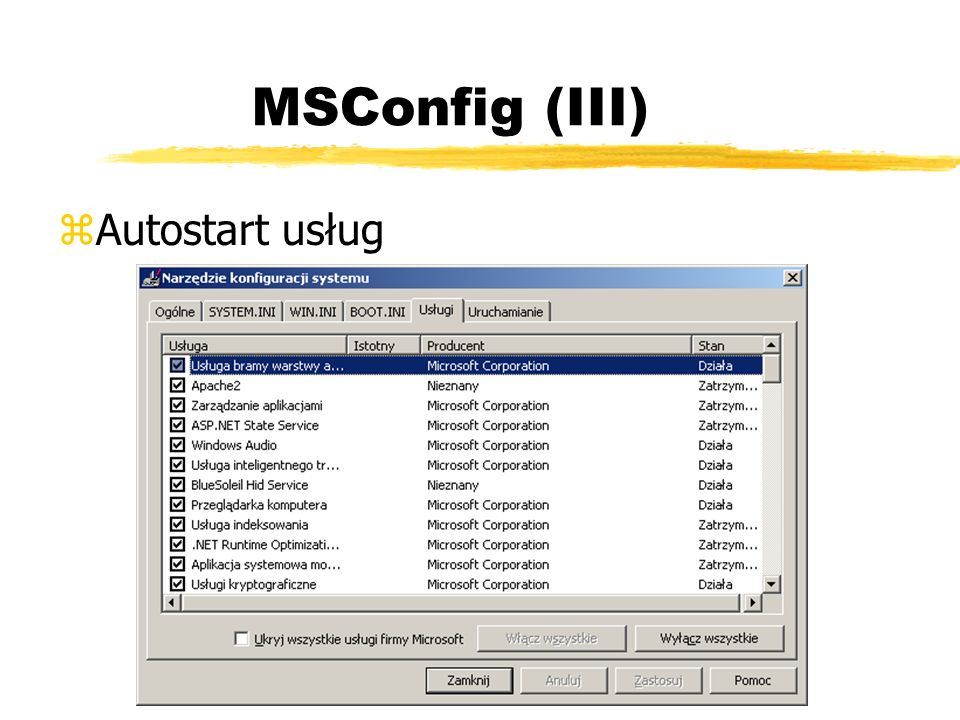MSConfig (III) zAutostart usług