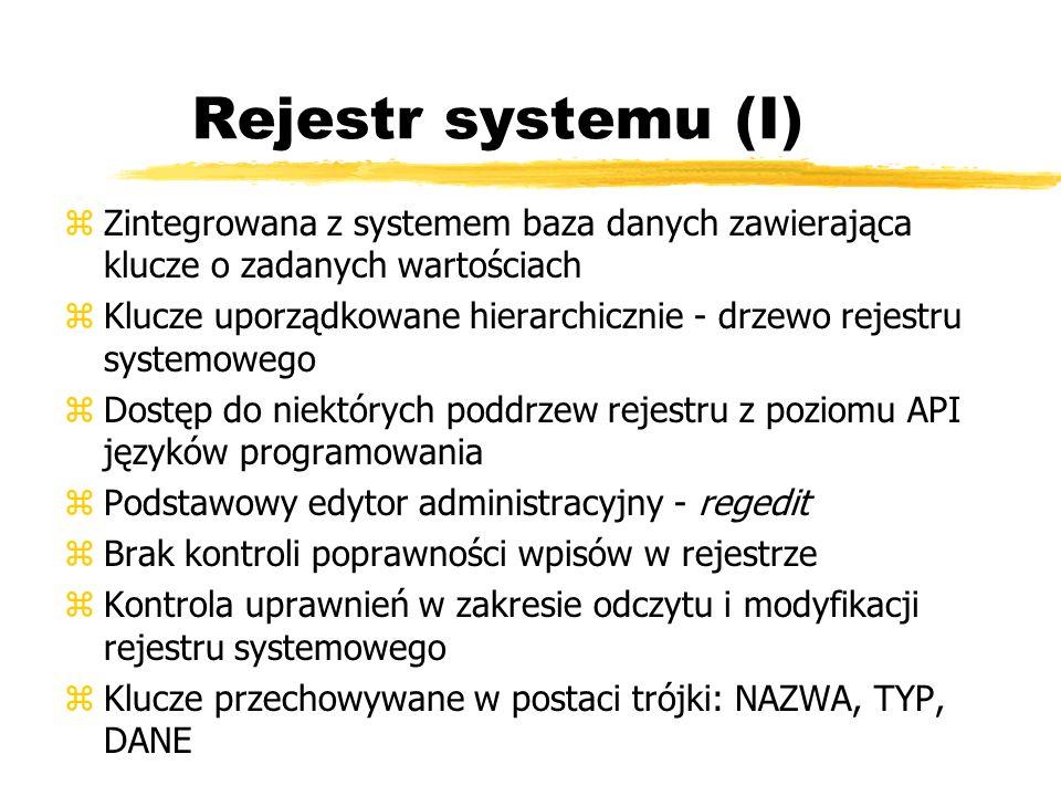 Rejestr systemu (I) zZintegrowana z systemem baza danych zawierająca klucze o zadanych wartościach zKlucze uporządkowane hierarchicznie - drzewo rejes