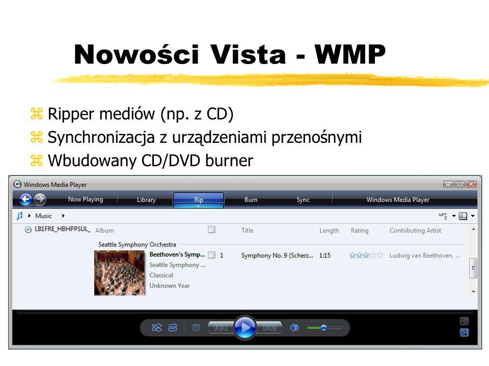 Nowości Vista - WMP zRipper mediów (np. z CD) zSynchronizacja z urządzeniami przenośnymi zWbudowany CD/DVD burner