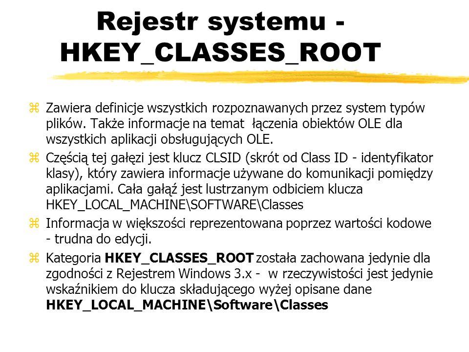Rejestr systemu - HKEY_CLASSES_ROOT zZawiera definicje wszystkich rozpoznawanych przez system typów plików. Także informacje na temat łączenia obiektó