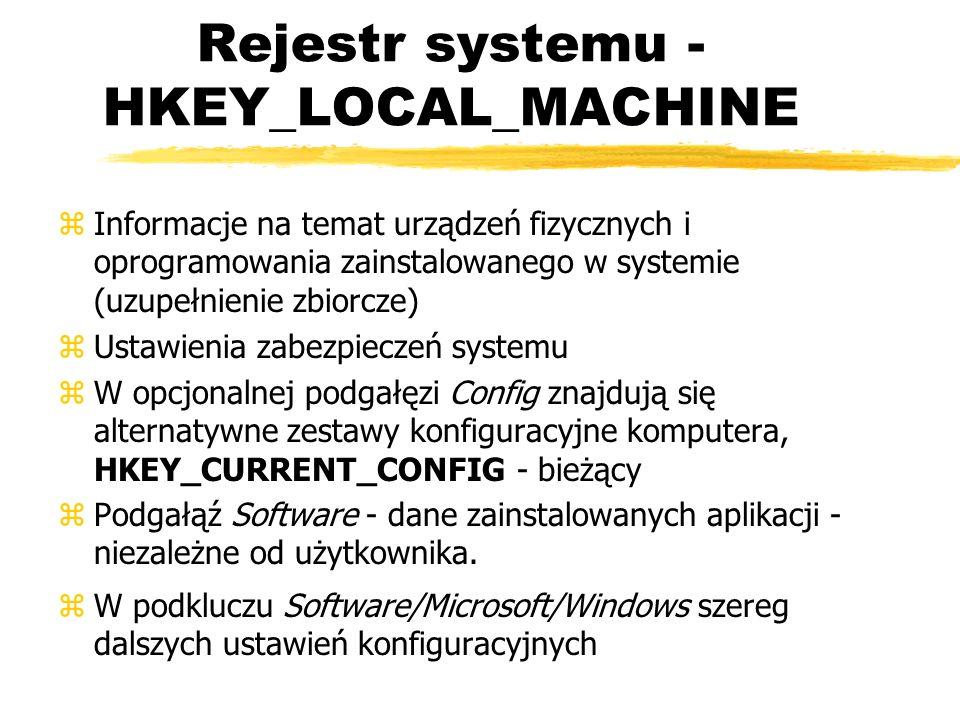 Rejestr systemu - HKEY_LOCAL_MACHINE zInformacje na temat urządzeń fizycznych i oprogramowania zainstalowanego w systemie (uzupełnienie zbiorcze) zUst