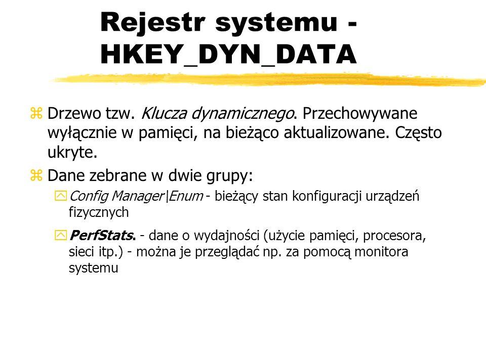 Rejestr systemu - HKEY_DYN_DATA zDrzewo tzw. Klucza dynamicznego. Przechowywane wyłącznie w pamięci, na bieżąco aktualizowane. Często ukryte. zDane ze