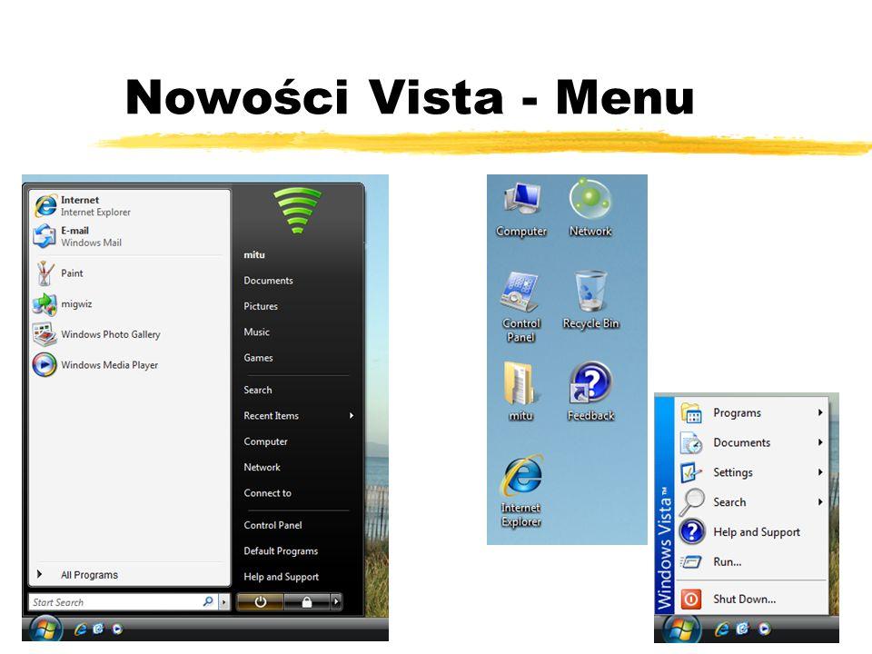 Nowości Vista - Menu